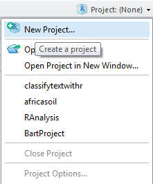 svm tutorial : create r studio project