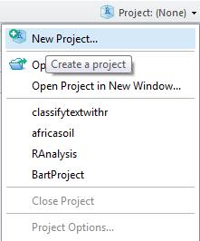 svm tutorial : create r studio project
