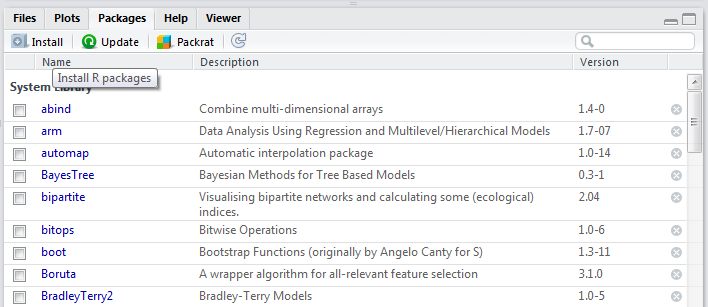 svm tutorial : install packages in rstudio